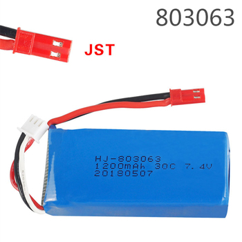 7.4V 1200mAh 803063 30C Lipo battery For Yi zhang X6 H16 MJX X101 X102 rc drone 7.4V 1200mAh 2S lipo battery for V666 V262 V323 image