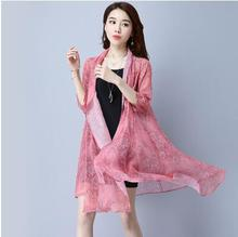 100% silk female long coat sun proof clothing thin section of elegant breathable size loose chiffon shirt cardigan coat-b225