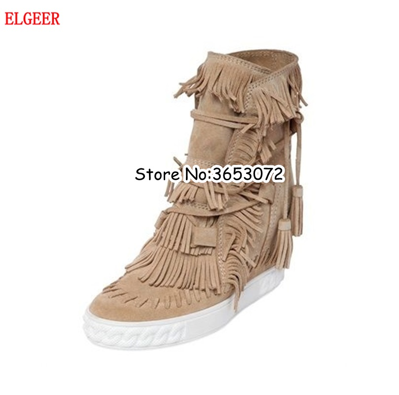 Suede Fringed Platform Wedge Casual Woman Shoes Tassel Leisure Lace Up Hidden Height Increasing Ankle Boots Shoes Top Quality lin king women casual shoes leisure lace up wedge shoes fashion low top massage ankle shoes solid massage outdoor single shoes