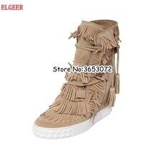 6284e258 Zapatos casuales de mujer con plataforma con flecos de gamuza zapatos de ocio  con cordones altura oculta aumento de botas de tob.