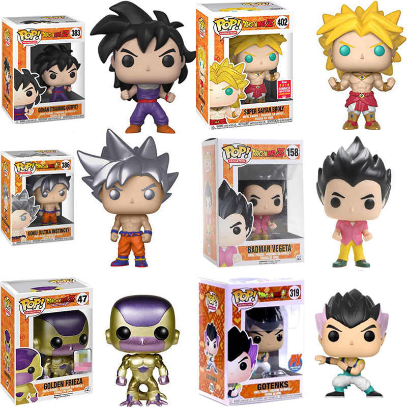 FUNKO POP Amina Dragon Ball Vegeta SUPER SAIYAN BROLY Goku FRIEZA Vinyl Action Figure Collectible Modelo Brinquedos para presente de crianças
