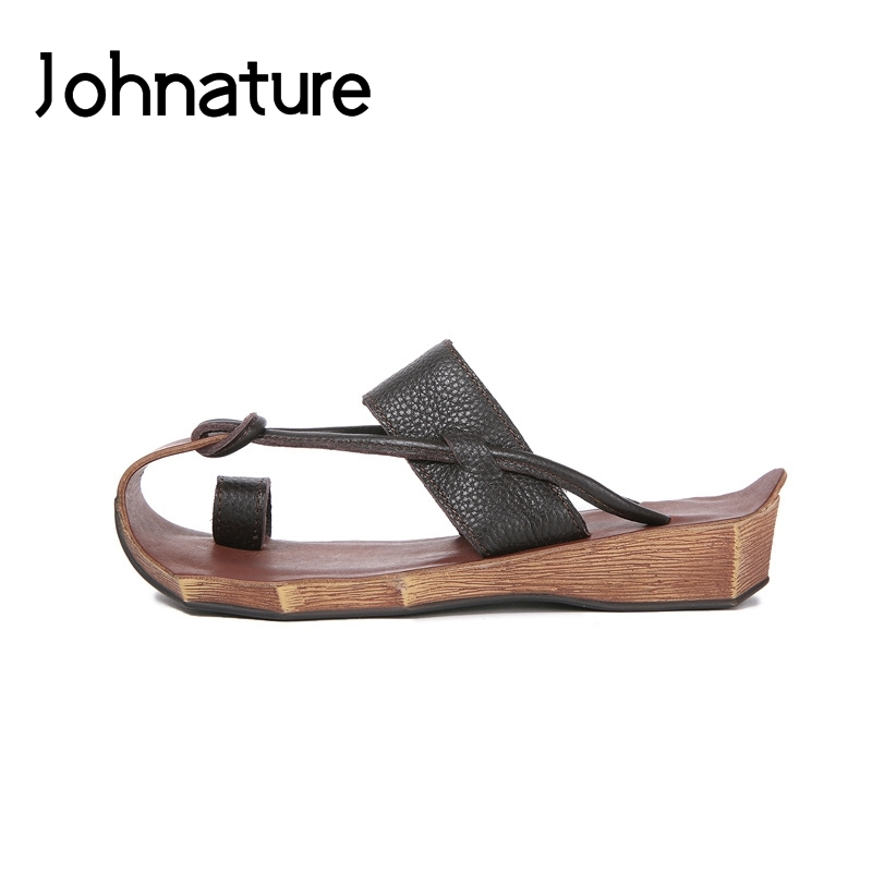 Johnature Genuine Leather Handmade Retro Flip Flops Summer Sewing Flat With Slippers Slides Outside Casual Sandals