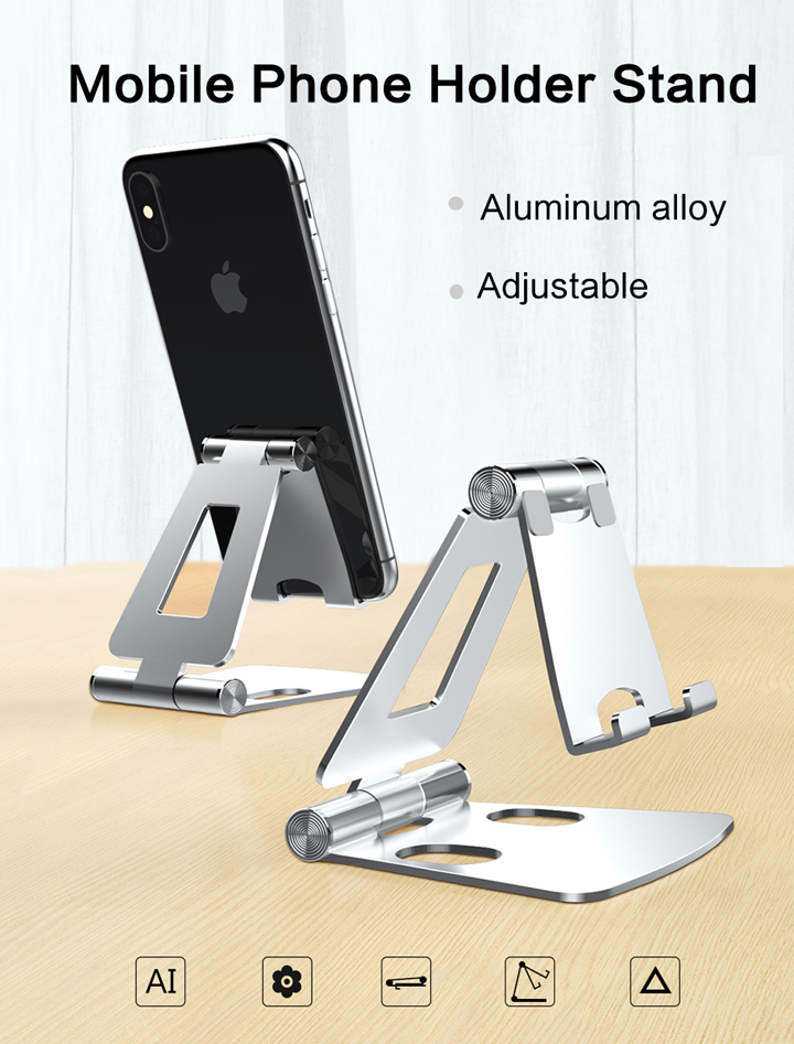 Phone Holder Stand Metal Phone Holder Foldable Mobile Phone Stand