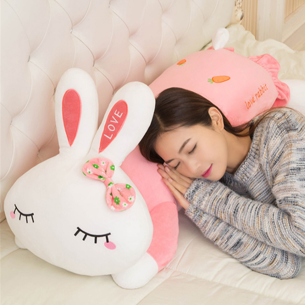 Fancytrader Giant Soft Plush Bunny Pillow Toys Big Stuffed Animals Pink Rabbit Doll for Kids Gifts 120cm 47inch fancytrader giant soft bunny plush toy big anime stuffed rabbit toys doll pink blue 110cm for children birthday christmas gifts