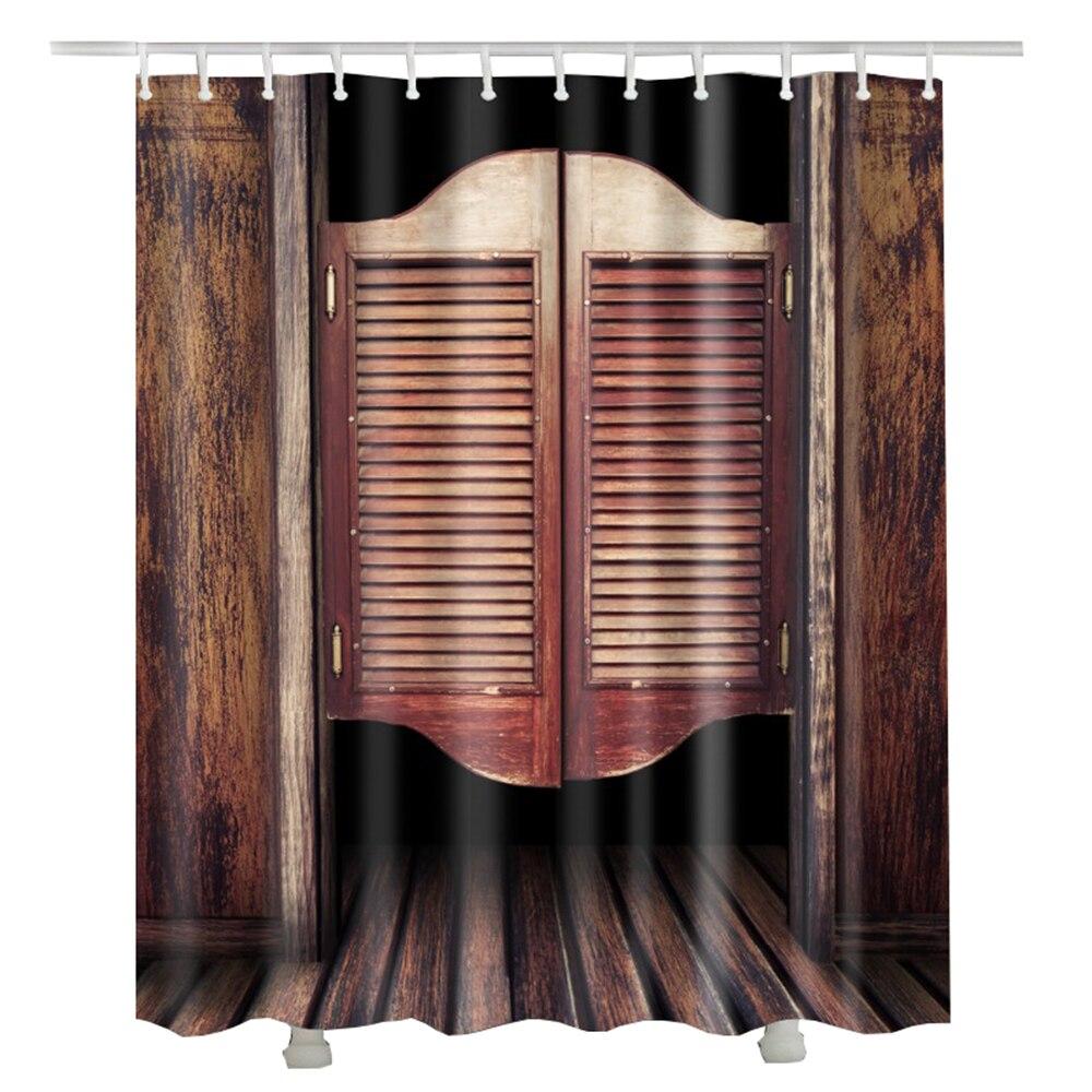 Vintage Wood Door Shower Curtain Europe Style Retro Door Luxury ...