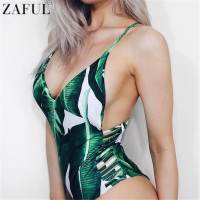 ZAFUL 2017 Sexy One Piece Swimsuit Women Swimwear Leaf Print Hollow Out Bathing Suit Bandage Bodysuit