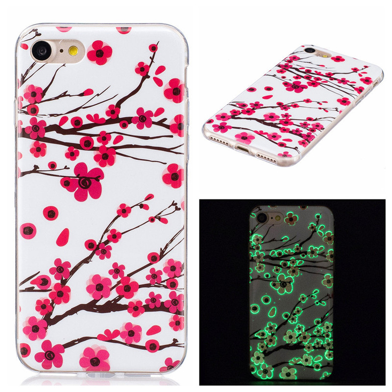 For Iphone 5 5s SE 6 6s 7 Glow Case Ultra Thin butterfly Slim Soft Silicone Phone Cases TPU Light Cover For Iphone SE 5 5s Capa