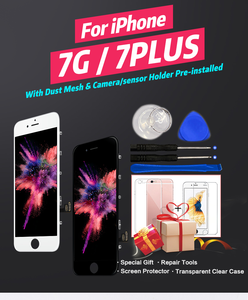 HTB1TOvFXLfsK1RjSszbq6AqBXXaZ AAA+++ Quality LCD For iPhone 7 7Plus Screen Replacement For Apple 8 8Plus No Dead Pixel Display 100% With 3D Touch Warranty