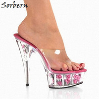 Sorbern Romantic Flower Slippers Women Crystal Ladies Dance Slippers 15Cm Ultra High Heel Platform Nightclub Queen Dance Shoe