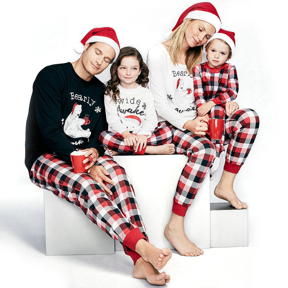 Family Matching Christmas Pajamas Set Women Baby Kids Sleepwear Nightwear Outfits Autumn Winter Warm Pajama Christmas Gift