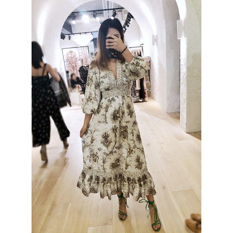 Nouvelle piste femmes bohème robes en lin Maxi Long imprimé 2019 été Designer v-cou volants robes de haute qualité Vestidos