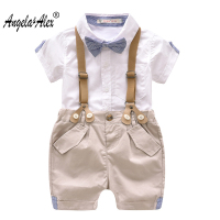 Angela Alex Baby Boy Cothes 2018 New Gentleman Short Cotton Skirts Overall Children Fashion Bow Tie