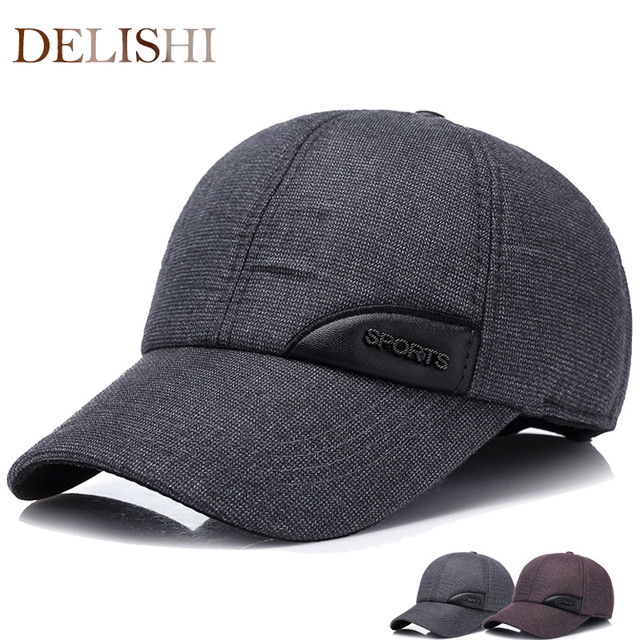 2220b00363b 2017 Warm Winter spring Ear Flaps For Men Hat Thickened Baseball Cap With  Ears Men S Cotton sports logo Hat Snapback Hats