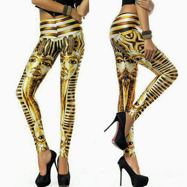 Fashion 2015 sexy women gold print pants gold print legging female stage show performance slim costumes