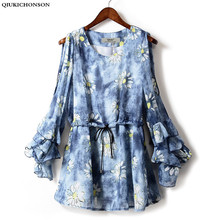 2016 Autumn New Arrivals Vintage Floral Print Women Long Sleeve Chiffon Blouse Ruffle Sleeve Plus Size Ladies Off Shoulder Tops