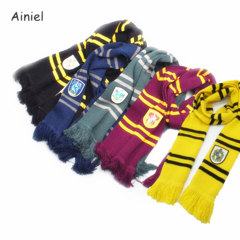 Wholesale 10 PCS LOTGryffindor Ravenclaw Slytherin Hufflepuff Scarves Long Knitted Muffle Scarf Neckerchief for Women Men Kids
