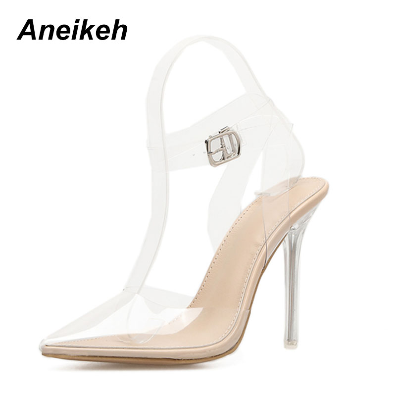 Aneikeh Women Sandals 2018 Fashion Transparent Pointed Toe Clear High Heels Pumps Stilettos Slingback PVC Wedding Dress ShoesAneikeh Women Sandals 2018 Fashion Transparent Pointed Toe Clear High Heels Pumps Stilettos Slingback PVC Wedding Dress Shoes