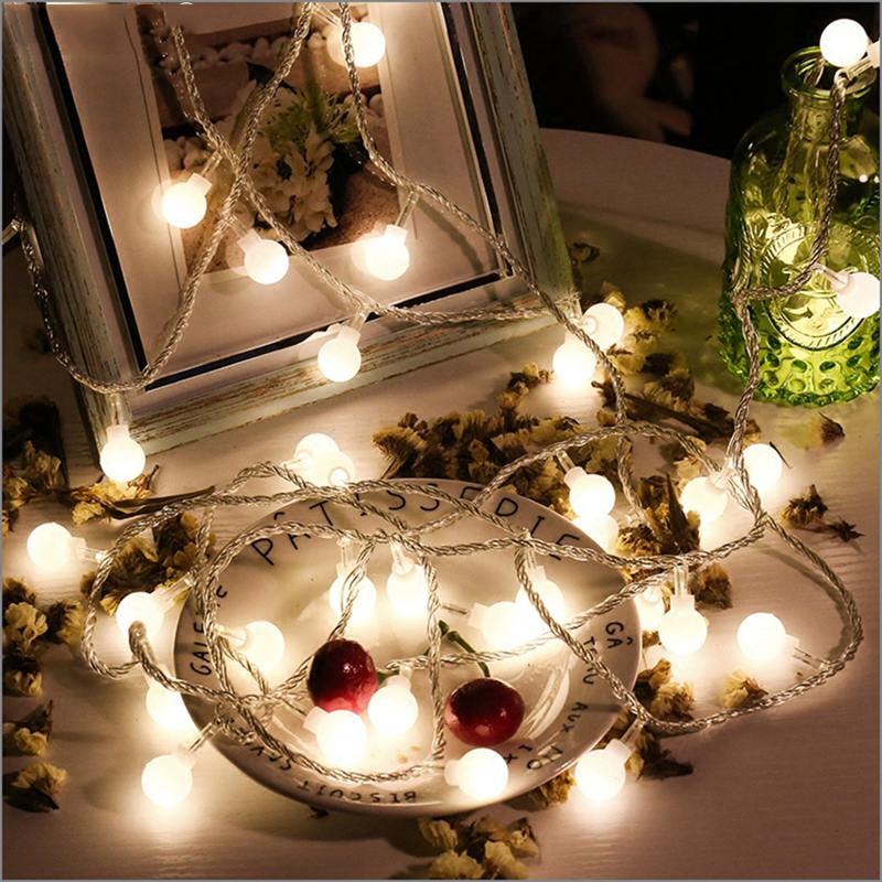 Battery powered 1M 2M 3M 5M 10M 20M <font><b>fairy</b></font> flower ball <font><b>LED</b></font> string Christmas holiday wedding party garland decorative <font><b>lights</b></font> image