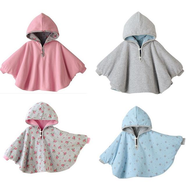 2015 Fleece Combi Bebé Abrigo Bebé Capa Doble cara Outwear Floral Bebé Capa Poncho Infantil Del Bebé Capa de Los Niños ropa