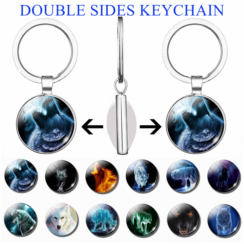 Aggressive Wolf Pattern Art Handcrafted Double Face Keychain Glass Cabochon Jewelry Men Pendant Women Key Chain Fashion Gifts