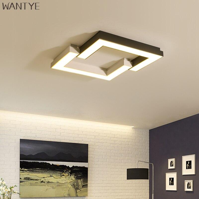 Acrylic Square Ceiling Light Led Living Room Modern Lighting Fixture Creative Geometric White Black Lamp For Study