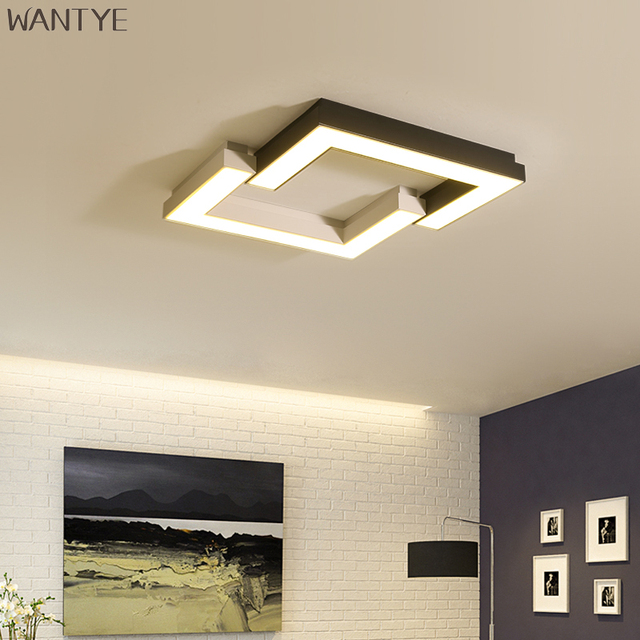 ceiling light fixtures for living room window coverings acrylic square led modern lighting fixture creative geometric white black lamp study