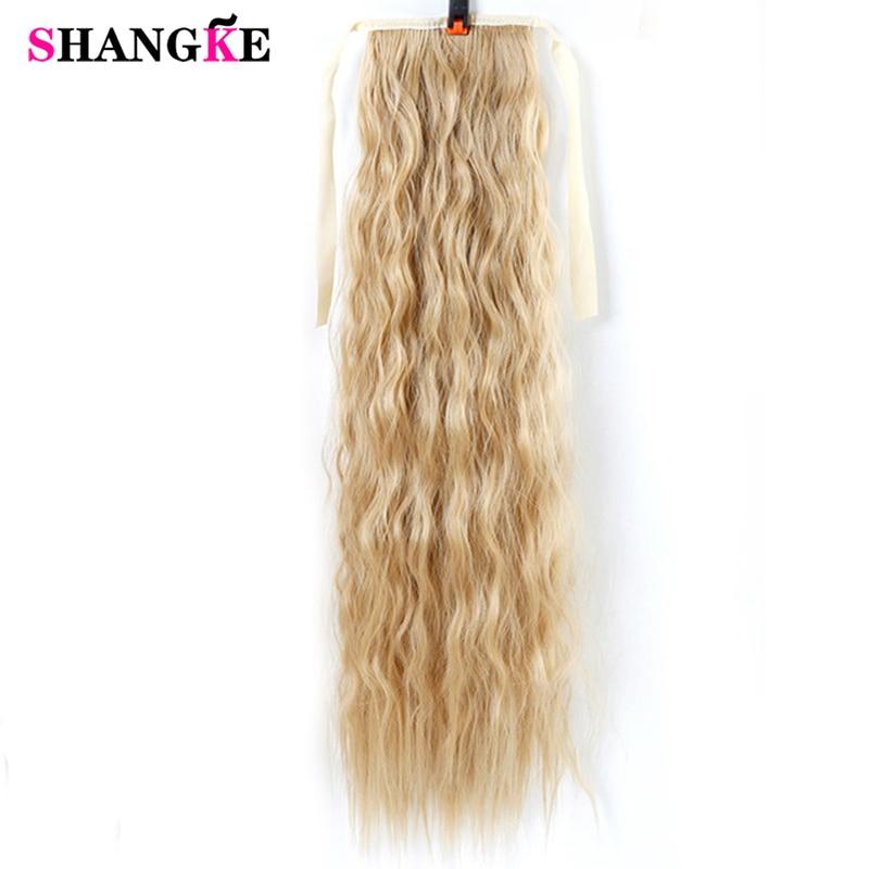 SHANGKE Saç 20 '' Siyah Kadınlar Için Uzun Kıvırcık At Kuyruğu - Sentetik Saç - Fotoğraf 1