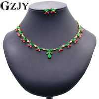 GZJY Luxury Gold Color Red Green AAA Zircon Necklace Butterfly Earring Jewelry Set For Women Bridal Wedding Party Jewelry
