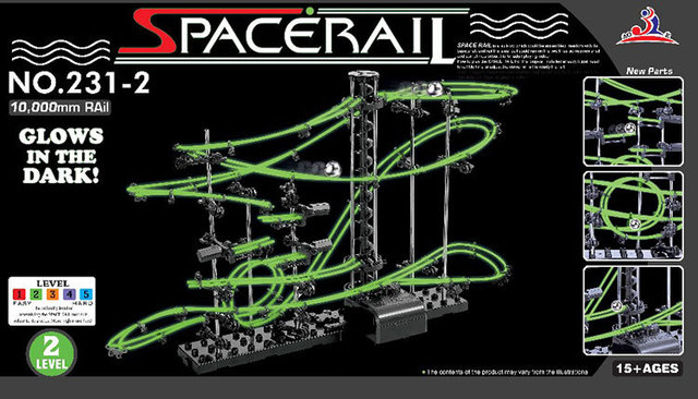 2016New Espaço Carril, Kit De Construção engraçado, Roller Coaster Brinquedos, Nível SpaceRail 2, DIY Spacewarp Erector Set, 10000mm Ferroviário