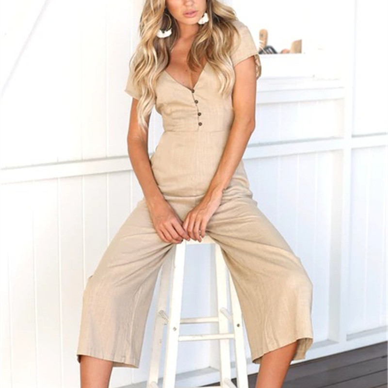 Plus Size 2018 Casual Hot Sexy Rompers Womens Pockets Jumpsuit Summer Beach Long Jumpsuit