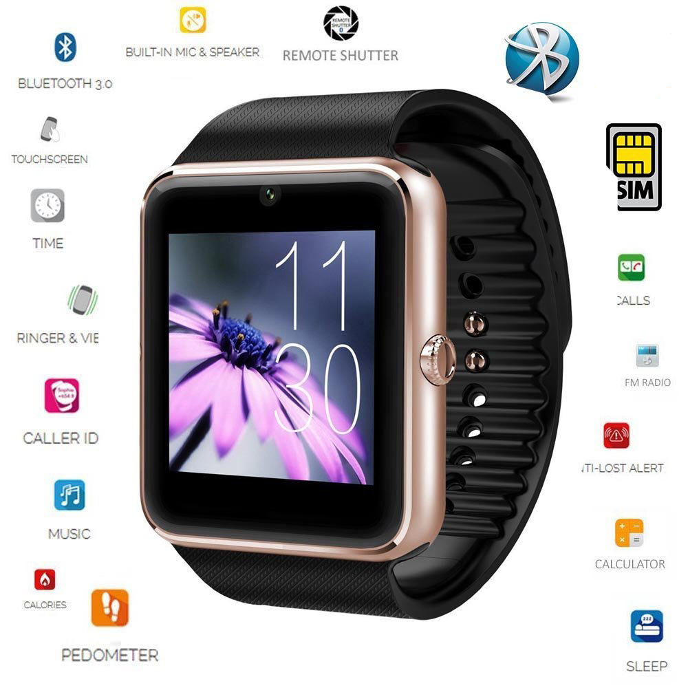 Free shipping Smart Watch GT08 Clock Sync Notifier Supports SIM Card Bluetooth Connectivity IOS Android Phone