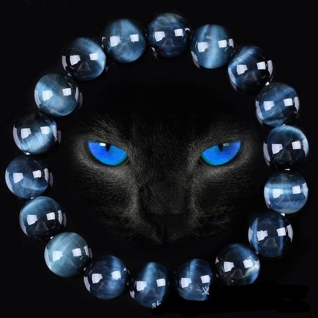 High Quality Blue Tiger Eye Buddha Natural Stone Round Beads Elasticity Rope Bracelet