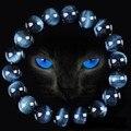 Alta Calidad Azul Ojo de Tigre Pulseras de Buda de Piedra Natural Granos Redondos Elasticidad Cuerda Hombres Pulsera de Las Mujeres