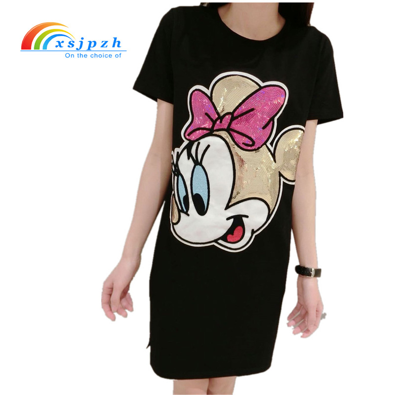 Buy Cheap 2017 Summer Harajuku Dress Short Sleeve Character Dress Women Sequin Mickey T shirt Dress Cartoon Robe Femme Dress S- 4XL YX058