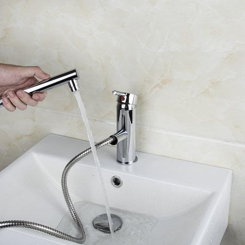 8552 4 Chrome Swivel Spout 360 Kitchen Sink Faucet Pull Out Spray Deck Mount Mixer Tap