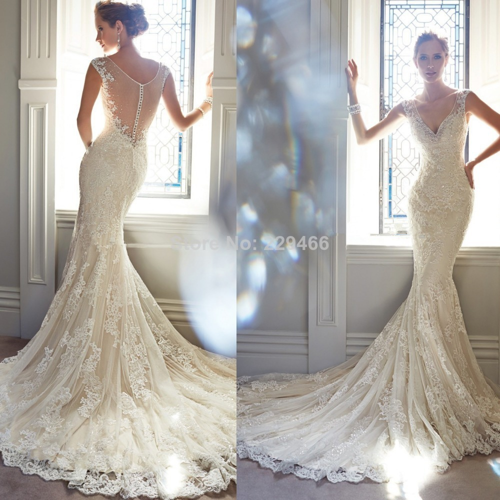 Lace Backless Mermaid Wedding Gown: SS97 Cap Sleeve Lace Ivory Mermaid Wedding Dresses