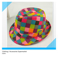 Multicolour plaid child hat baby jazz style hat bucket hat  female child beanie ,sun hat for children