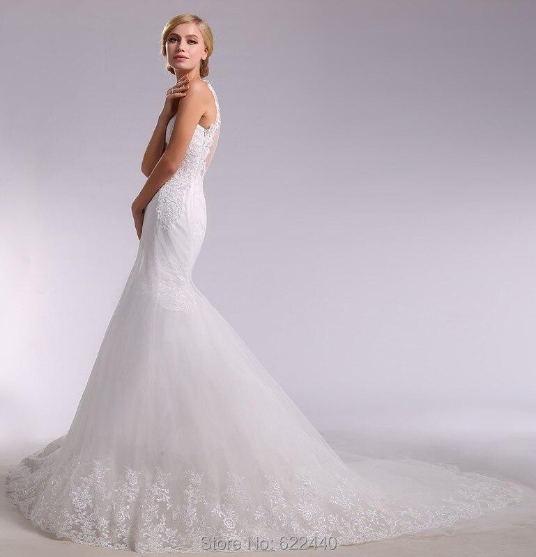 Y Illusion Back Mermaid Lace Wedding Dresses Detachable Chapel Train Gown Spaghetti Straps V Neck Bridal In From Weddings