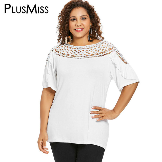 08790149398 PlusMiss Plus Size 5XL XXXXL XXXL Hollow Out Lace Mesh White Tops Ladies  Ethnic Boho Loose Blouse Women Clothes Big Size Blusas
