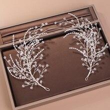 Diademas de diamantes de imitación de cristal para mujer, accesorios para el cabello de boda hechos a mano, Color plateado