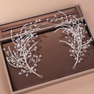 Image 1 - Diademas de diamantes de imitación de cristal para mujer, accesorios para el cabello de boda hechos a mano, Color plateado