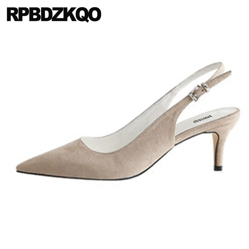 Slingback Size 33 Orange Shoes Women Sandals 3 Inch Suede Pumps Stiletto Plus High Heels Summer Nude Office Pointed Toe Elegant