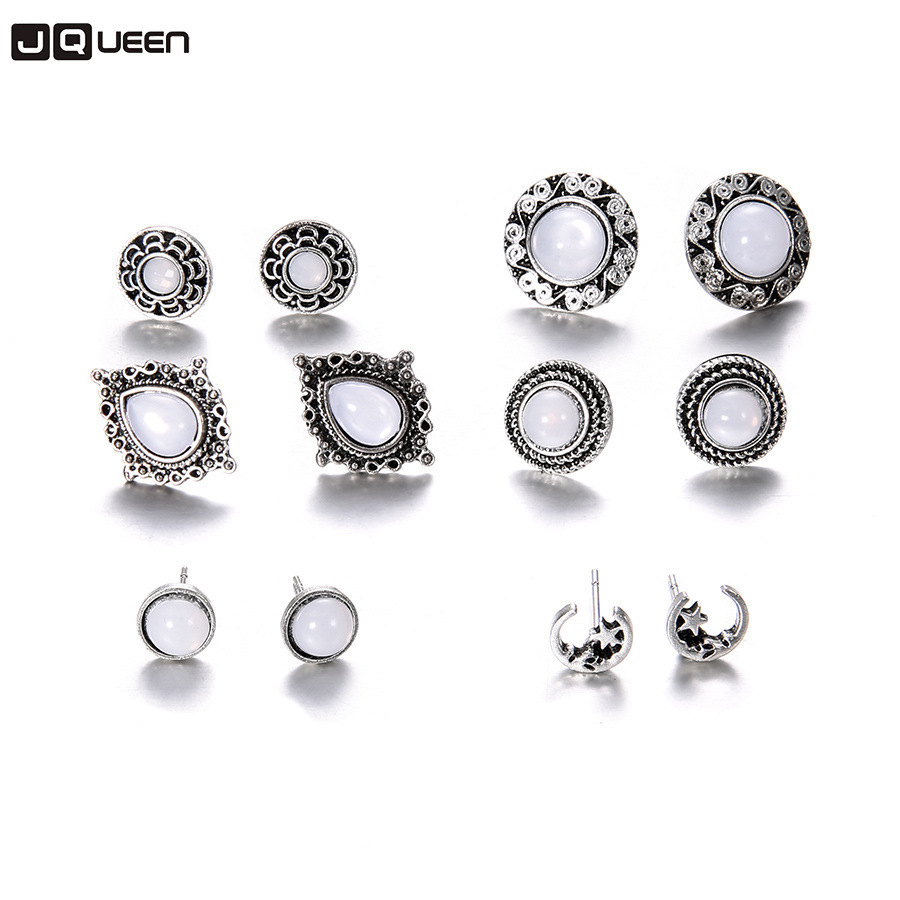 6 Pairs/set Silver Color Moon Stud Earrings Vintage Crystal Opal Earrings Set For Women Fashion Jewelry Excellent In Cushion Effect Jewelry & Accessories Earrings
