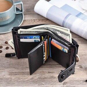 Image 3 - 2019 erkek cüzdan kısa PU deri çift fermuarlı Hasp erkek cüzdan kart tutucu para cebi Vintage yüksek kaliteli marka erkek cüzdan