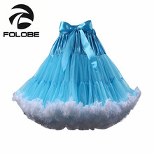 FOLOBE Blue Knee Length Tulle Skirt VintageTutu Skirts Womens Lolita Petticoat faldas de tull Mujer Saias Jupe