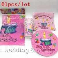 61pcs dużo Szczęśliwy Mój 1st Birthday Party Decoration Chłopiec Dziewczyna Talerze Papierowe Kubki Dla Dzieci Baby Shower Dobrodziejstw Serwetki Obrus materiałów eksploatacyjnych
