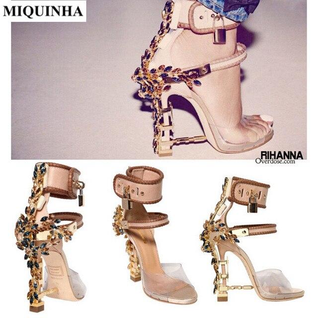 341cb5ce390 MIQUINHA estilo Lujo Bling de Sandalias de La Mujer Tacones Altos Zapatos  de Fiesta Color Mezclado