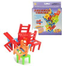 18pcs/box Plastic Children Balance Toy Stacking Chairs Kids Desk Playing Game Toys Parent Child Interactive Party Game Toys(China)