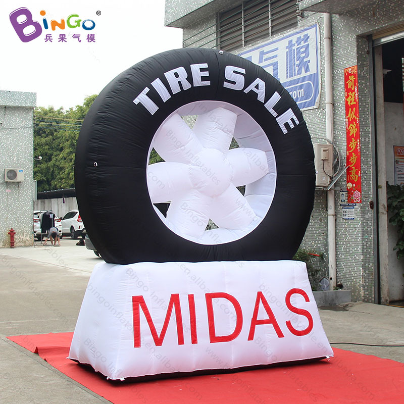 Customized 3 meters high large inflatable tyre logo printed promotional blow up tyre for decoration inflatable toys