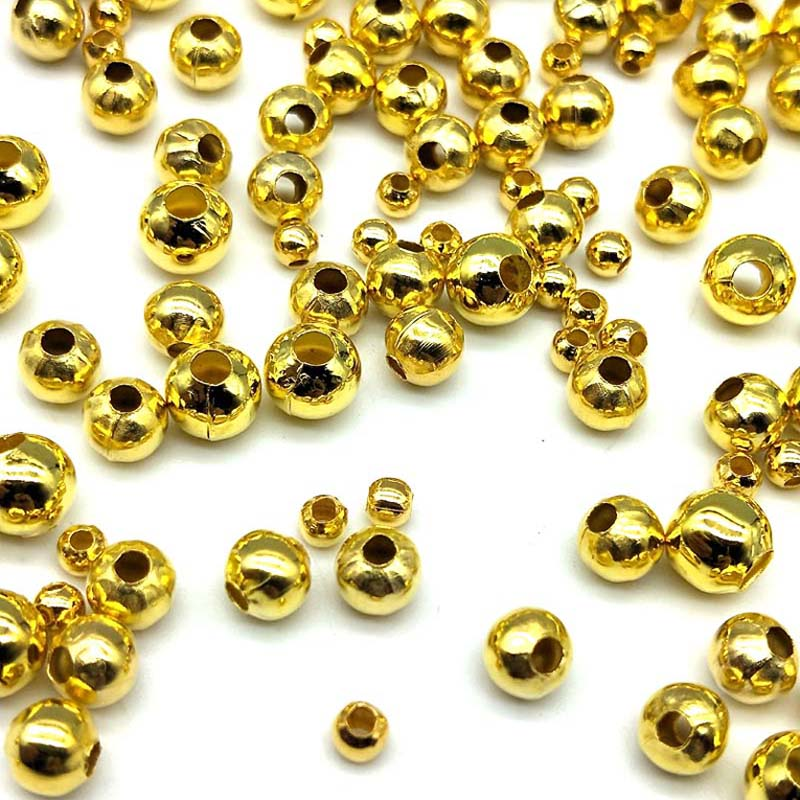 Jewelry & Accessories Ingenious Diy 200/130/60/50pcs 3/4/5/6mm Cheap Beads Fashion Accessories Gold Silver Plated Alloy Space Loose Beads Accessories Wholesale Highly Polished Beads & Jewelry Making